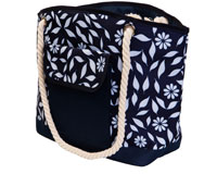 Insulated Beach Tote - Navy Floral-P1002
