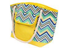 Insulated Beach Tote - YellowithMulti Chevrons-P1005