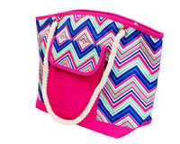 Insulated Beach Tote - Pink/Multi Chevrons-P1006