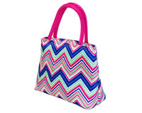Insulated Lunch Tote - Pink/Multi Chevrons-P2006