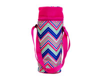Insulated Wine Tote - Pink/Multi Chevrons-P3006