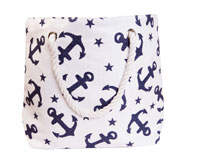 Straw Beach Bags with Pocket - White with Anchors-SBB1001