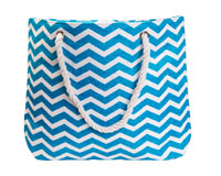 Straw Beach Bags with Pocket - Turquoise Chevrons-SBB1002