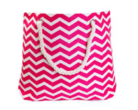 Straw Beach Bags with Pocket - Pink Chevrons-SBB1003