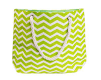 Straw Beach Bags with Pocket - Green Chevrons-SBB1004