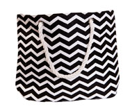 Straw Beach Bags with Pocket - Black Chevrons-SBB1005