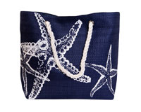 Straw Beach Bags with Pocket - Navy Starfish-SBB1006