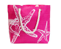 Straw Beach Bags with Pocket - Pink Starfish-SBB1007