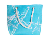 Straw Beach Bags with Pocket - Turquoise Starfish-SBB1008