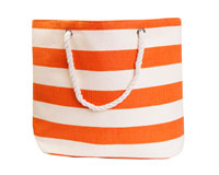 Straw Beach Bags with Pocket - Orange Stripes-SBB1009