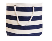 Straw Beach Bags with Pocket - Navy Stripes-SBB1010