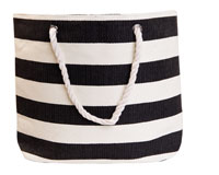Straw Beach Bags with Pocket - Black Stripes-SBB1011