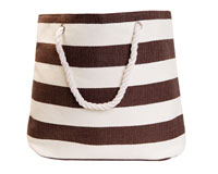 Straw Beach Bags with Pocket - Mocha Stripes-SBB1012