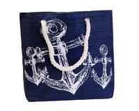 Straw Beach Bags with Pocket - Navy with Anchors-SBB1013