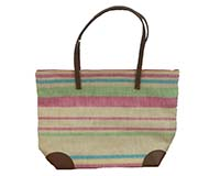 Straw Beach Bags with Pocket - Leather/Multicolored Stripes-SBB1014