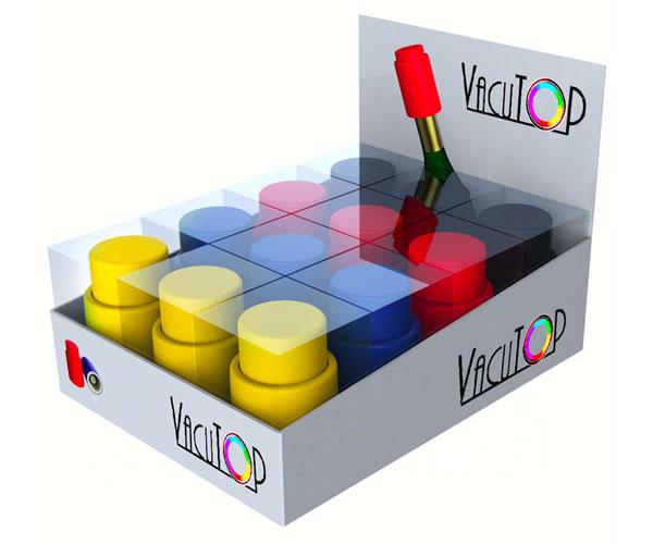 Vacutops - 12Pc Vacuum Wine Stopper Assortment'D Prepack Red, Black, Nav...